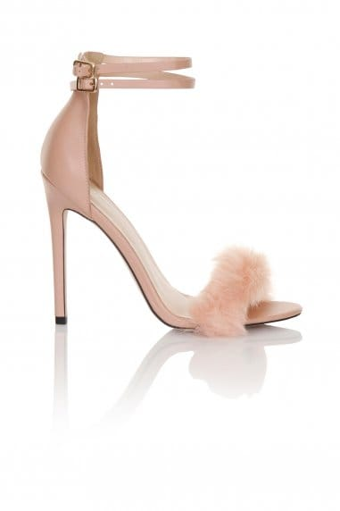 Blush Fur Double Ankle Strap Heels