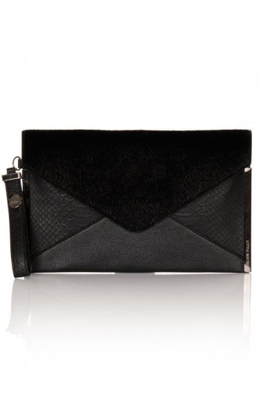Black Pony and Black Snake Clutch Bag