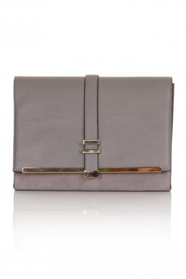 Grey Suede And Leather Clutch Bag