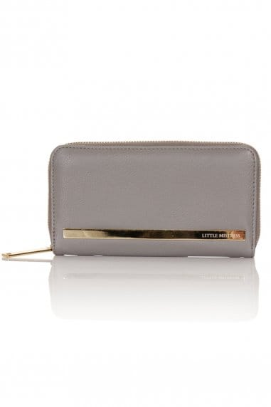 Grey Suede and Leather Purse