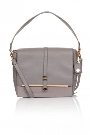 Large Grey Suede And Leather Shoulder Bag