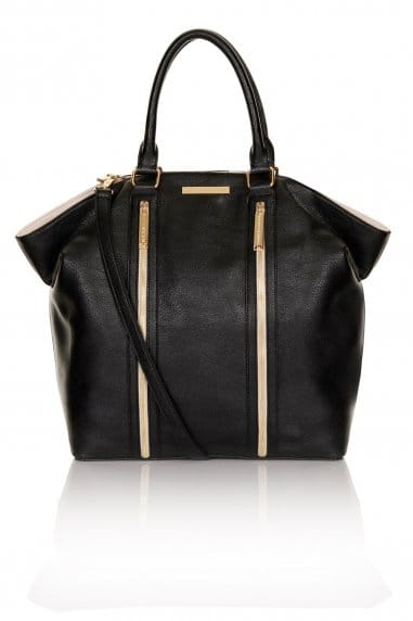 Large Black, Nude and Gold Hobo Bag