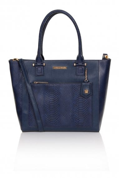 Navy Faux Snakeskin And Leather Tote Bag