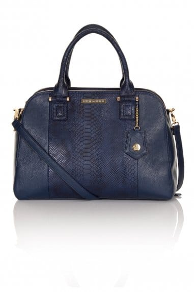 Navy Faux Snakeskin and Leather Twin Zip Bag