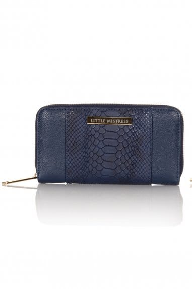 Navy Faux Snakeskin and Leather Large Purse