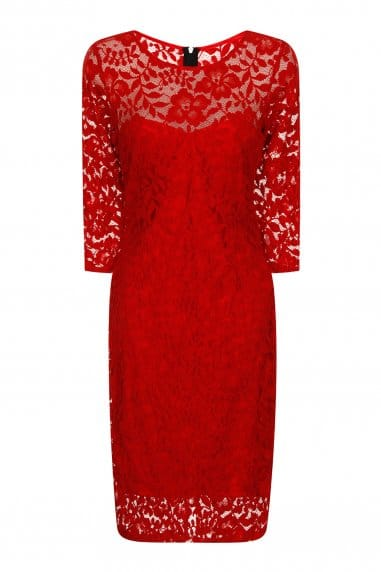 Red Lace 3/4 Sleeve Dress