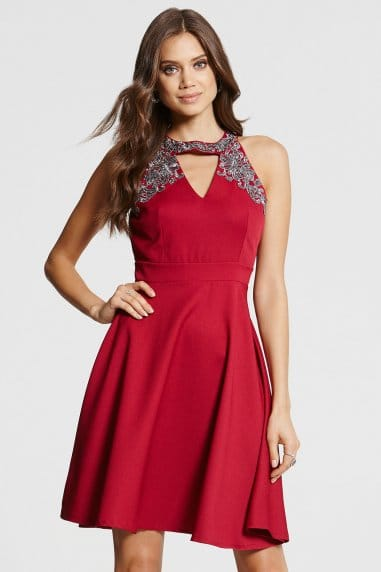 Berry Embellished Cut Out Dress