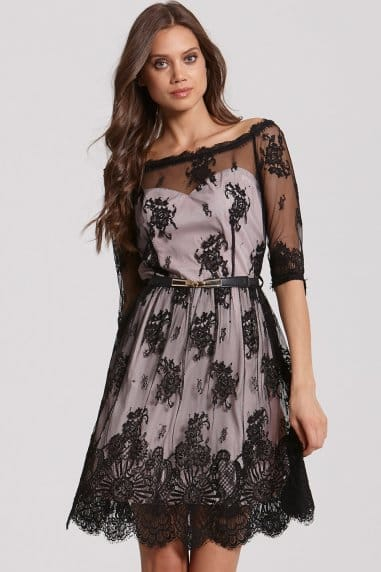 Black Border Lace Bardot Dress
