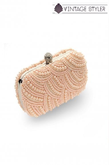 Vintage Styler Eva Art Deco Pearl Blush Clutch Bag