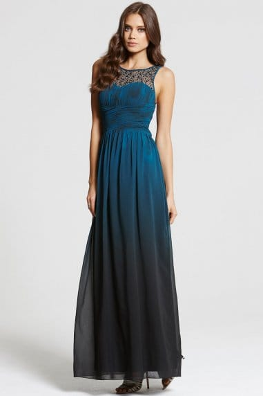 Teal Dip Dye Embellished Neck Maxi Dress