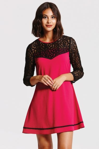 Berry A- Line Tunic Dress with Black Lace Sleeves