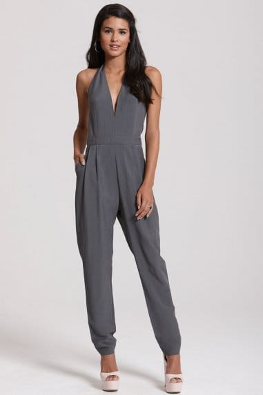 Grey Halter Neck Jumpsuit