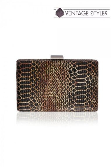 Mitzi Snake Effect Clutch Bag