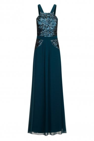 Teal Sequin Embellished Maxi Dress