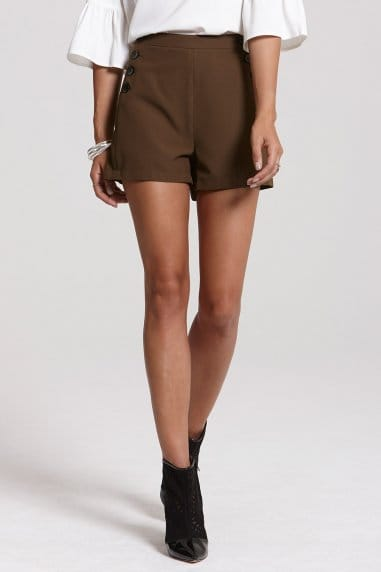 High Waisted Khaki Button Shorts