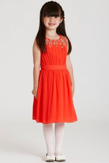 Orange Chiffon Embellished Dress