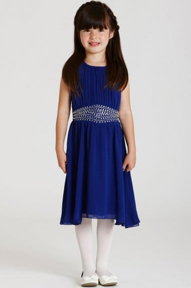 Cobalt Embellished Waist Chiffon Dress