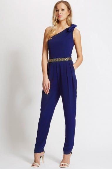 Laced In Love Navy One Shoulder Jumpsuit