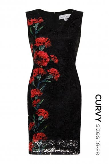 Red & Black Floral Lace Dress