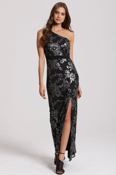 One Shoulder Black and Silver Embellished Maxi Dress