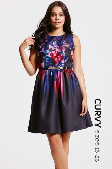 Floral Placement Print Fit and Flare Dress
