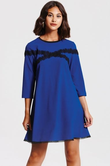 Cobalt and Black Lace Tunic Dress