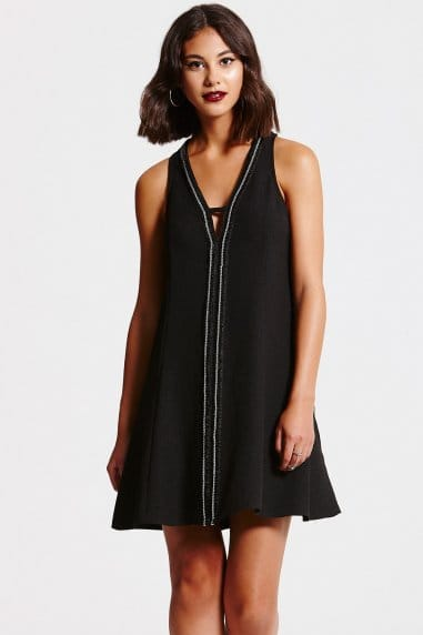 Deep V Black Tunic Dress