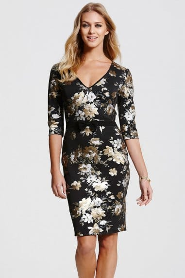 Metallic Floral Bow Waistdress