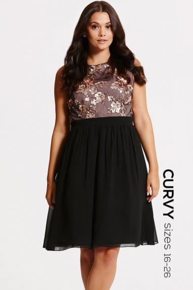 Black and Gold Sequin Fit and Flare Dress