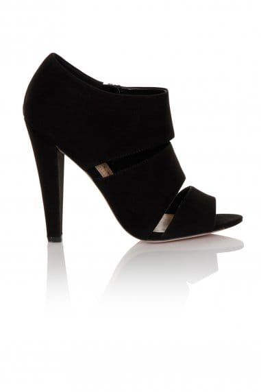 Black Microfiber Open Toe Slit Mules