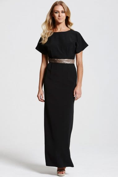 Black Kimono Gold Sequin Waist Maxi Dress
