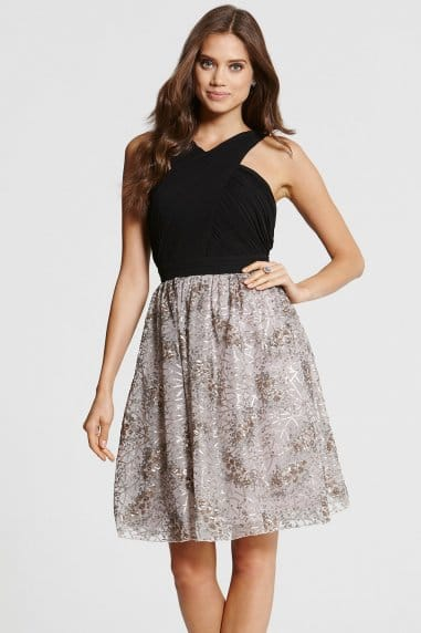 Crossover Black and Mink Prom Dress