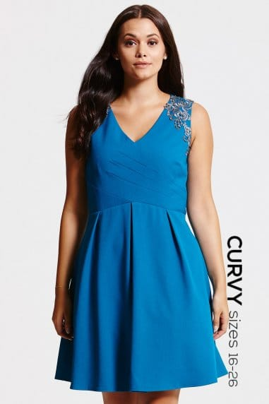 Teal Gathered Crossover Dress