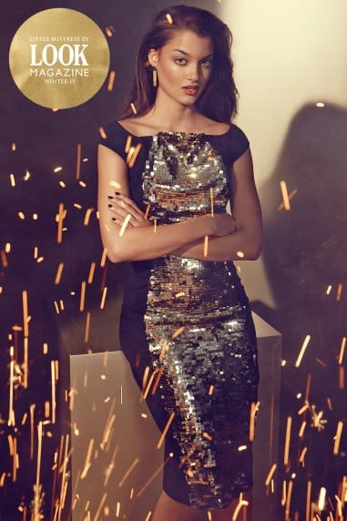 Black and Gold Sequin Wiggle Dress