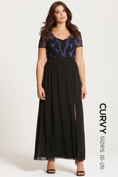 Black and Blue Lace Maxi Dress