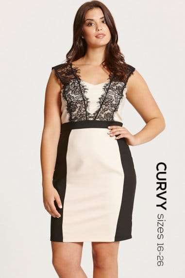 Beige and Black Lace Trim Dress