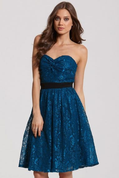 Teal Lace Bandeau Prom Dress