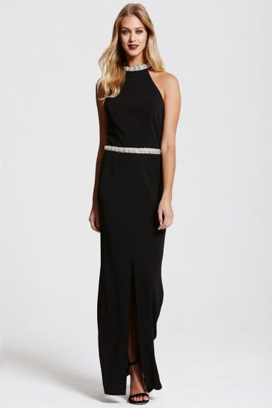 Black Jewel Neck/Waist Maxi Dress
