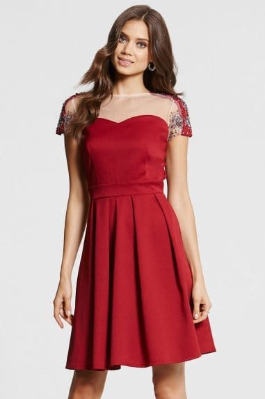 Berry and Silver Embellished Fit and Flare Dress