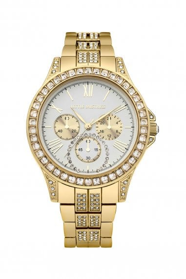 Stainless Steel Gold Bracelet Watch with White Dial