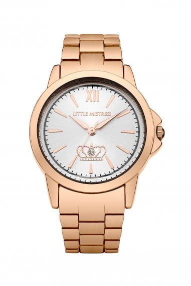 Rose Gold Bracelet Watch With Silver Dial