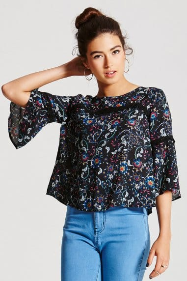 Dark Floral Flare Sleeve Top