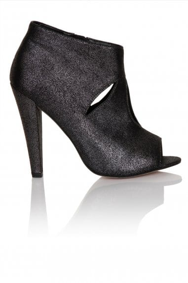 Pewter cut out peep toe ankle boot