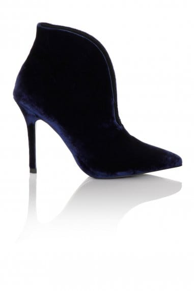 Navy Velvet Gap Curve Heel Boot