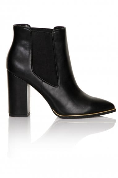 Black Metal Trim Heel Chelsea Boots