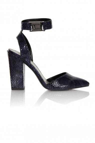 Navy Snake Print Ankle Strap Chunky Heels