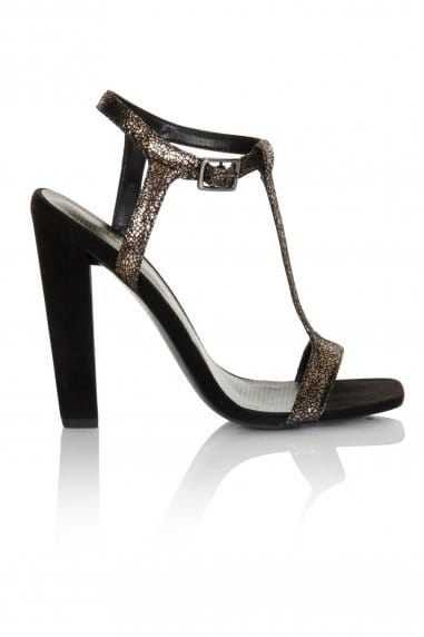 Silver Cracked T-Bar Strap Heel