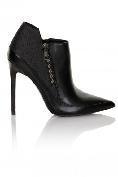 Black Point Toe Zip Ankle Boots