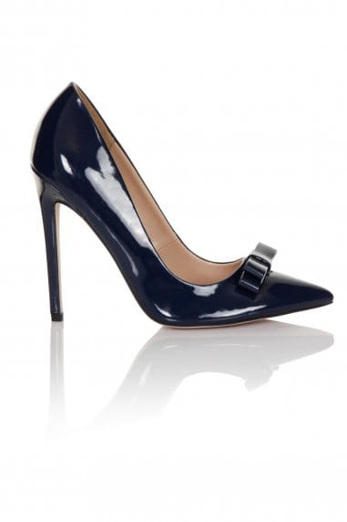 Navy Patent Tape Bow Court Heel