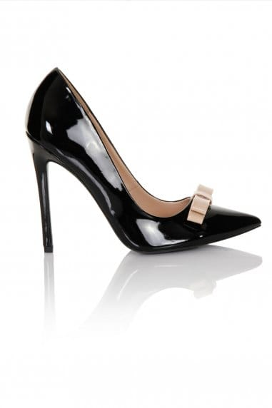 Black/Nude Patent Tape Bow Court Heel